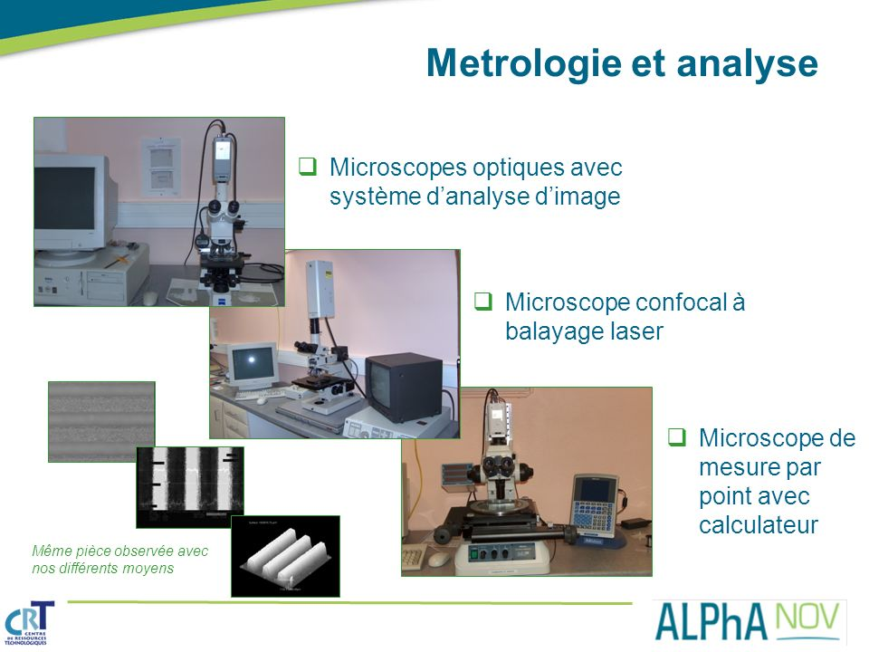 Metrologie et analyse Microscopes optiques avec système d'analyse d'image. Microscope confocal à balayage laser.