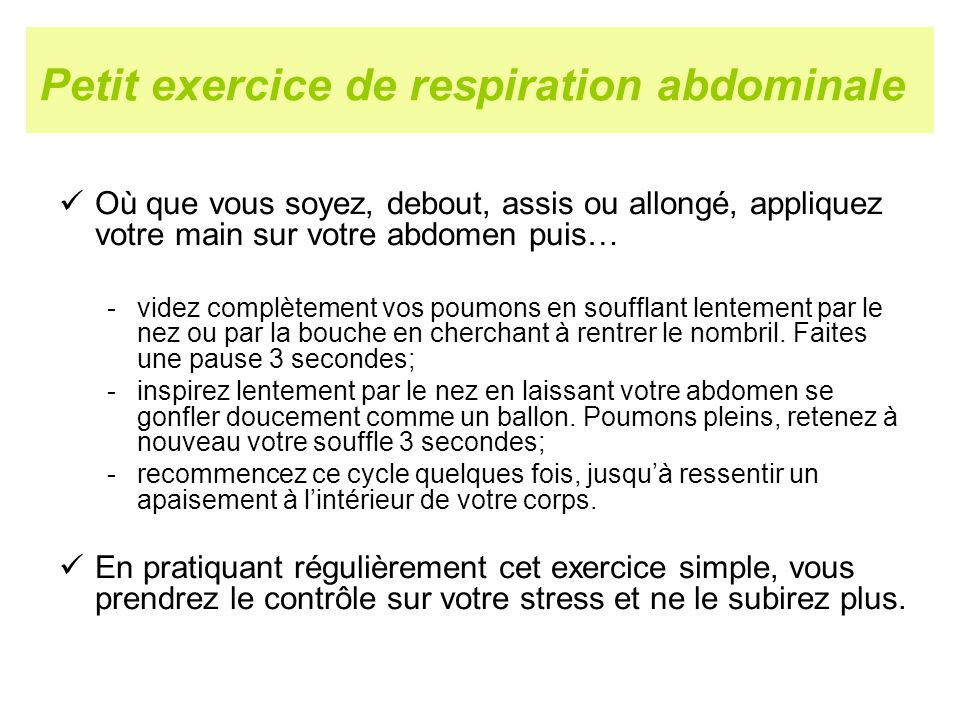 Petit exercice de respiration abdominale