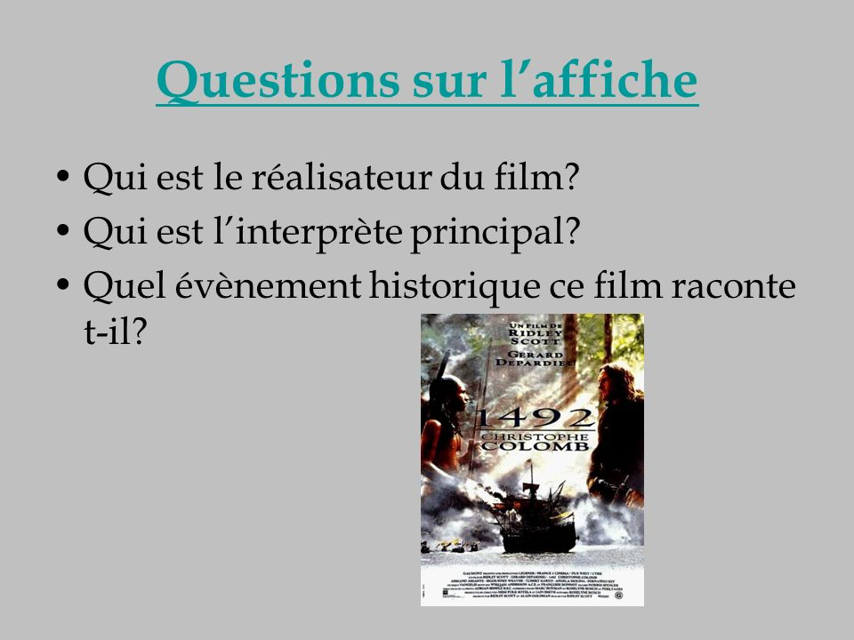 Questions sur l'affiche