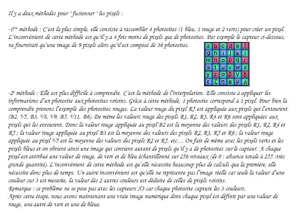 Il y a deux méthodes pour fusionner les pixels : -1ère méthode : C'est la plus simple, elle consiste à rassembler 4 photosites (1 bleu, 1 rouge et 2 verts) pour créer un pixel.