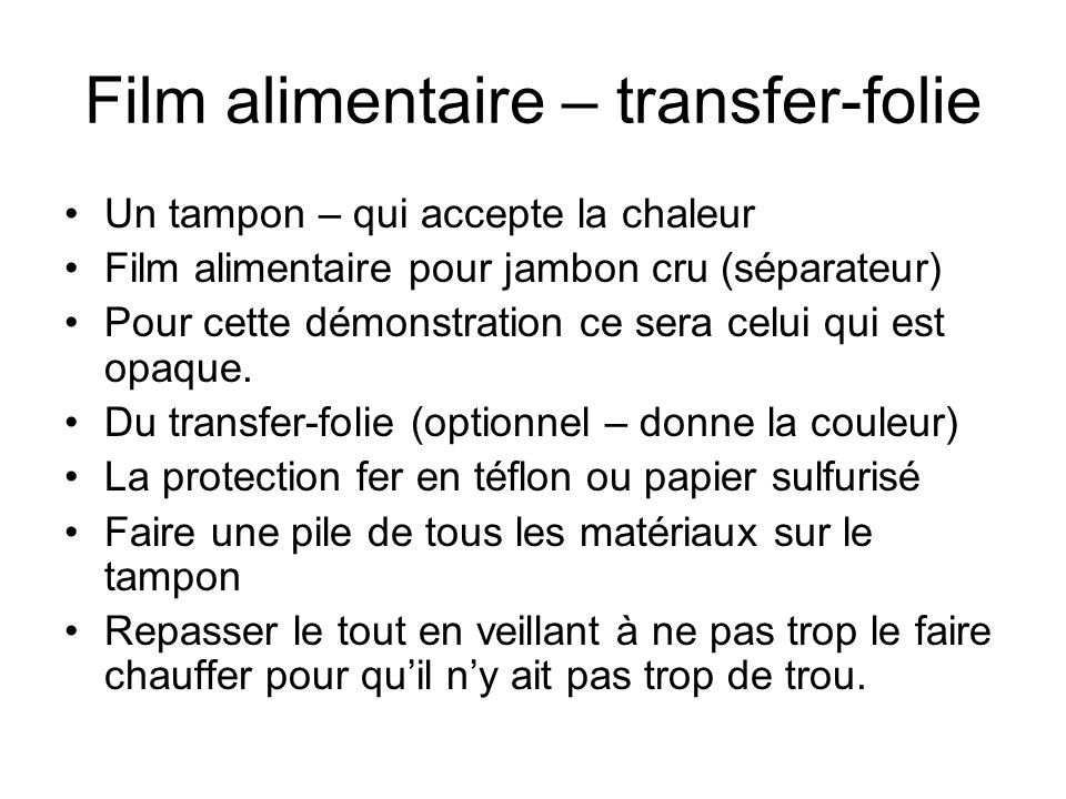 Film alimentaire – transfer-folie