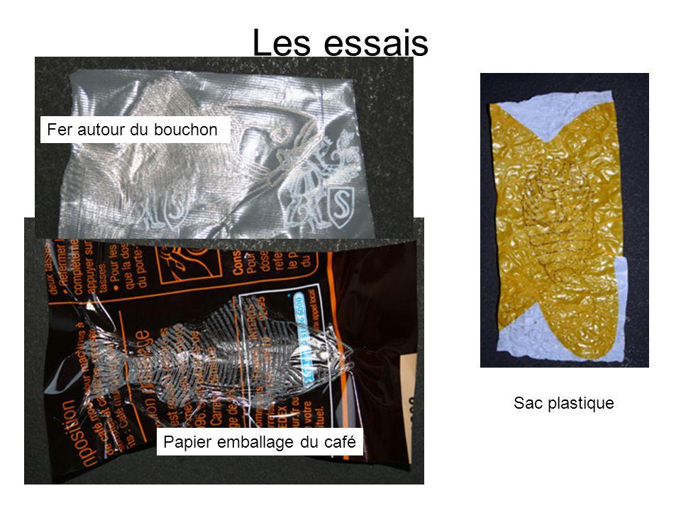 Les essais Fer autour du bouchon Sac plastique
