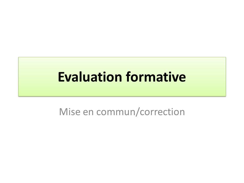 Mise en commun/correction
