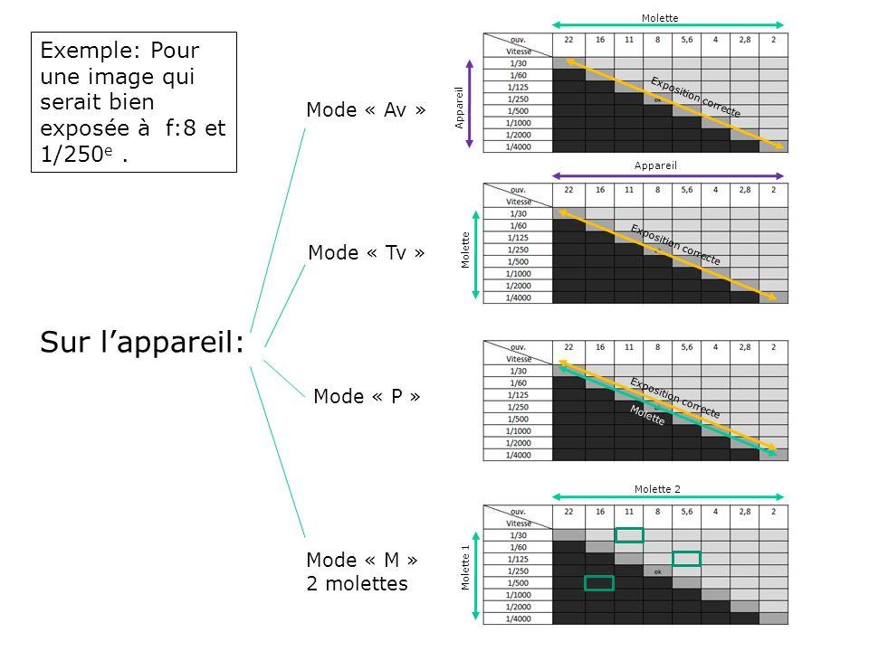 Molette Exemple: Pour une image qui serait bien exposée à f:8 et 1/250e . Mode « Av » Appareil. Exposition correcte.