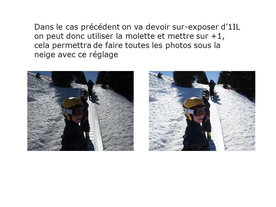 Dans le cas précédent on va devoir sur-exposer d'1IL on peut donc utiliser la molette et mettre sur +1, cela permettra de faire toutes les photos sous la neige avec ce réglage