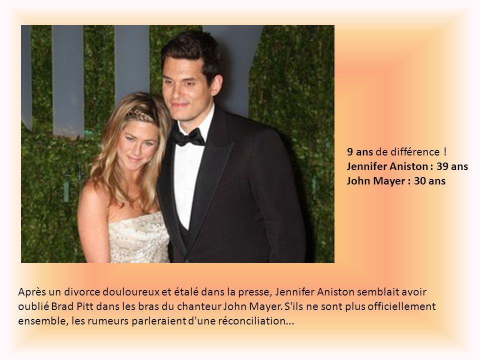 9 ans de différence ! Jennifer Aniston : 39 ans John Mayer : 30 ans