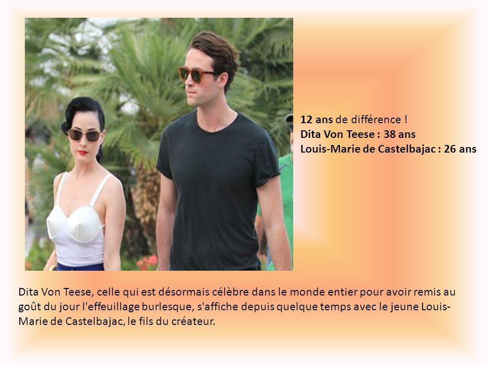 12 ans de différence ! Dita Von Teese : 38 ans Louis-Marie de Castelbajac : 26 ans