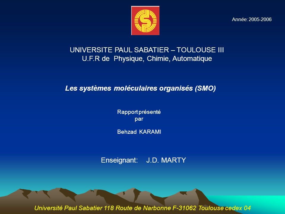 UNIVERSITE PAUL SABATIER – TOULOUSE III