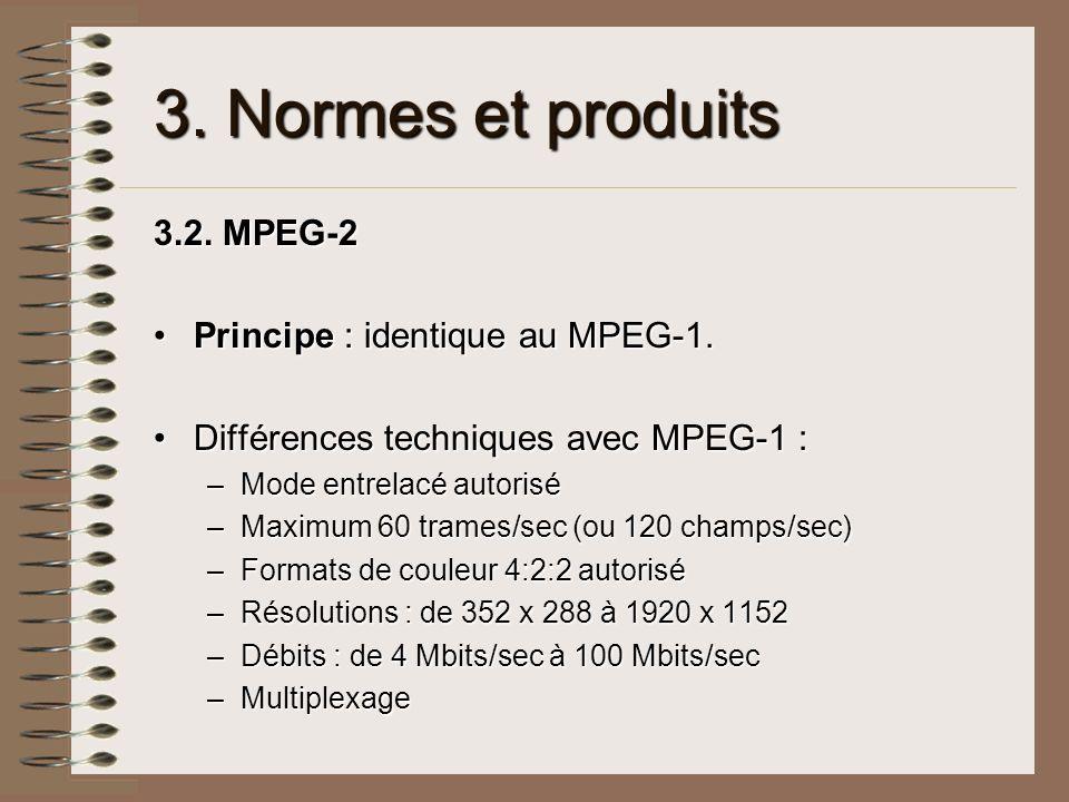 3. Normes et produits 3.2. MPEG-2 Principe : identique au MPEG-1.