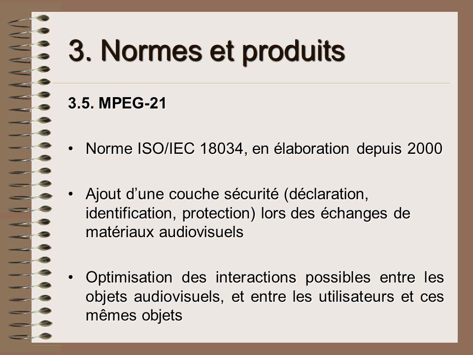 3. Normes et produits 3.5. MPEG-21