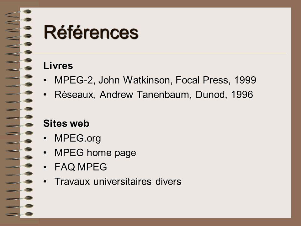 Références Livres MPEG-2, John Watkinson, Focal Press, 1999
