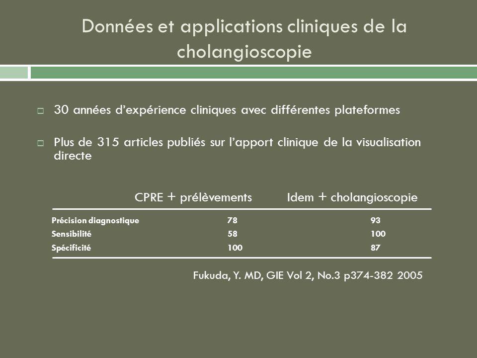 Données et applications cliniques de la cholangioscopie