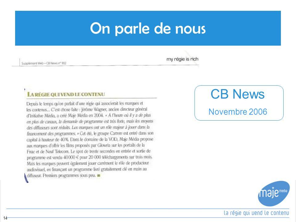 On parle de nous CB News Novembre 2006 14