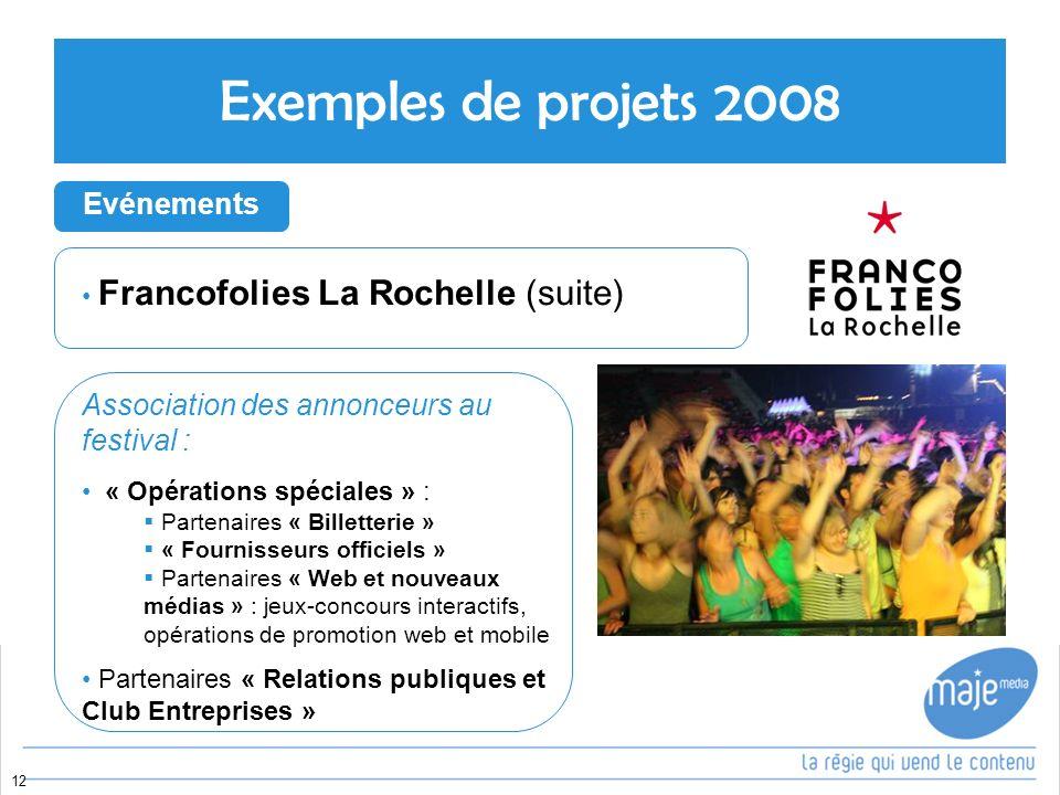 Exemples de projets 2008 Evénements