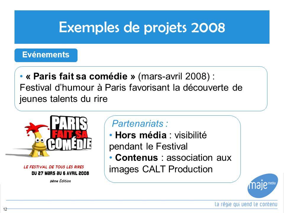 Exemples de projets 2008 « Paris fait sa comédie » (mars-avril 2008) :