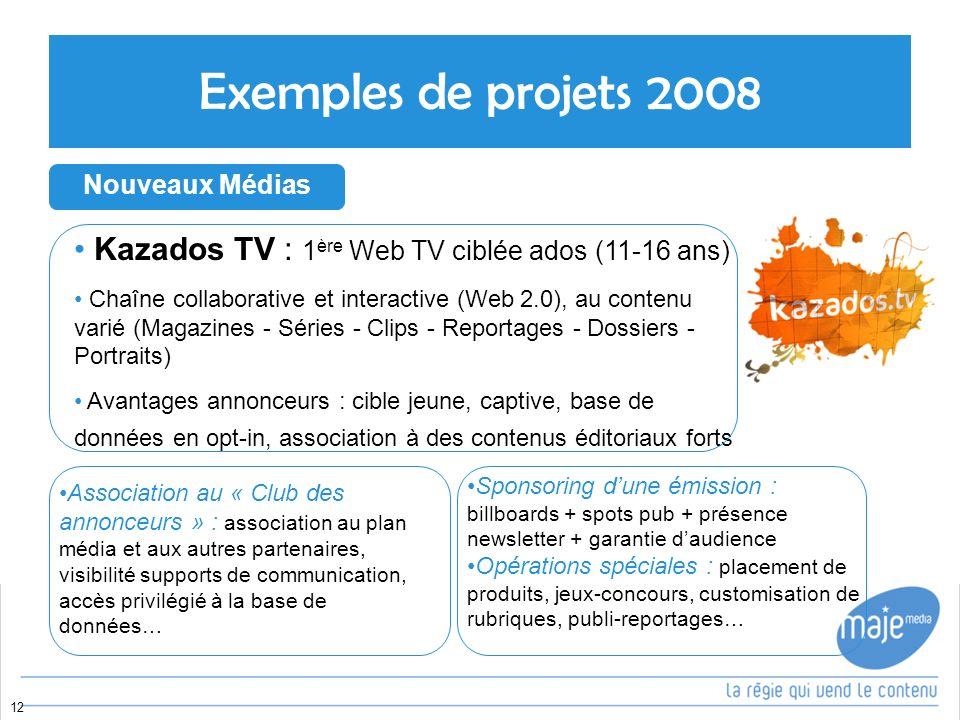 Exemples de projets 2008 Nouveaux Médias. Kazados TV : 1ère Web TV ciblée ados (11-16 ans)