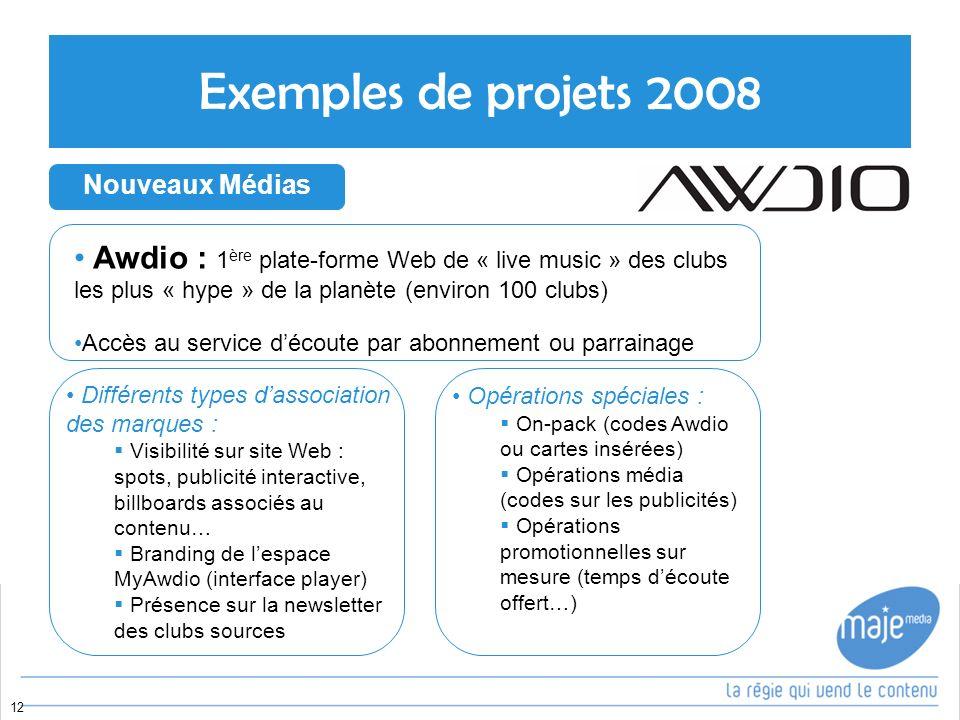 Exemples de projets 2008 Awdio : 1ère plate-forme Web de « live music » des clubs les plus « hype » de la planète (environ 100 clubs)