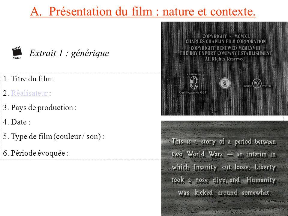 A. Présentation du film : nature et contexte.