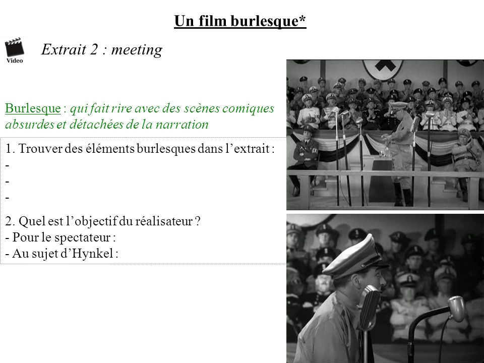 Un film burlesque* Extrait 2 : meeting