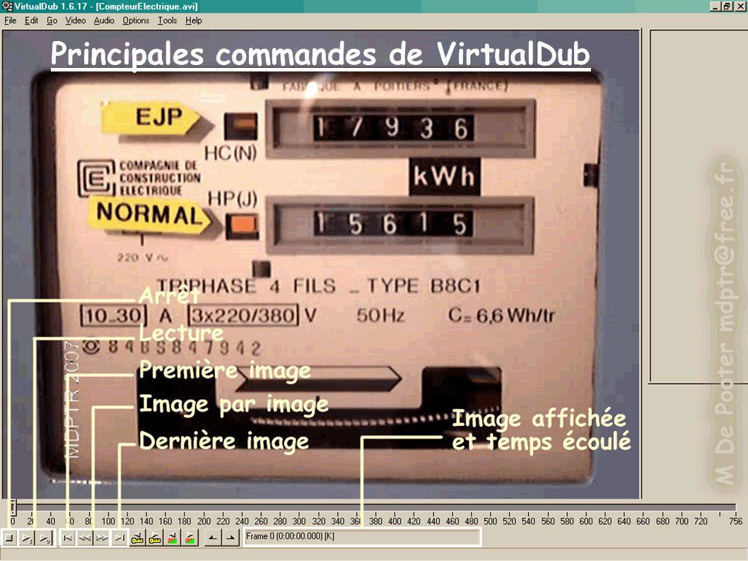 Principales commandes de VirtualDub