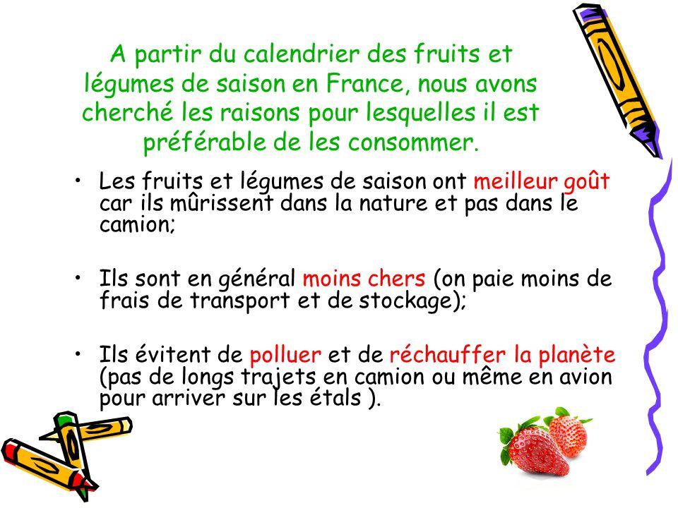 A partir du calendrier des fruits et légumes de saison en France, nous avons cherché les raisons pour lesquelles il est préférable de les consommer.
