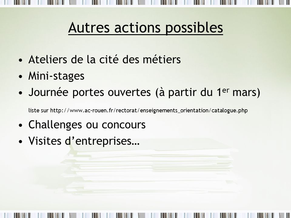 Autres actions possibles