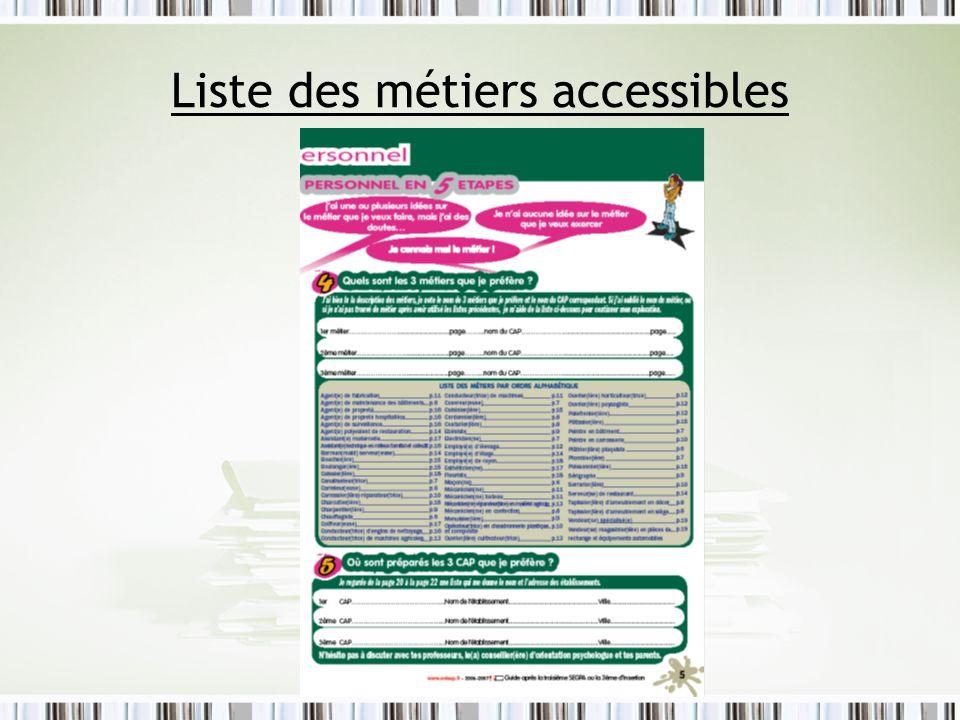 Liste des métiers accessibles