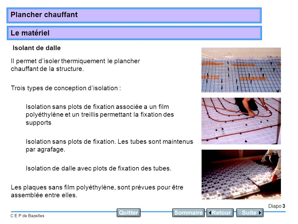 Isolant de dalle Il permet d'isoler thermiquement le plancher chauffant de la structure. Trois types de conception d'isolation :