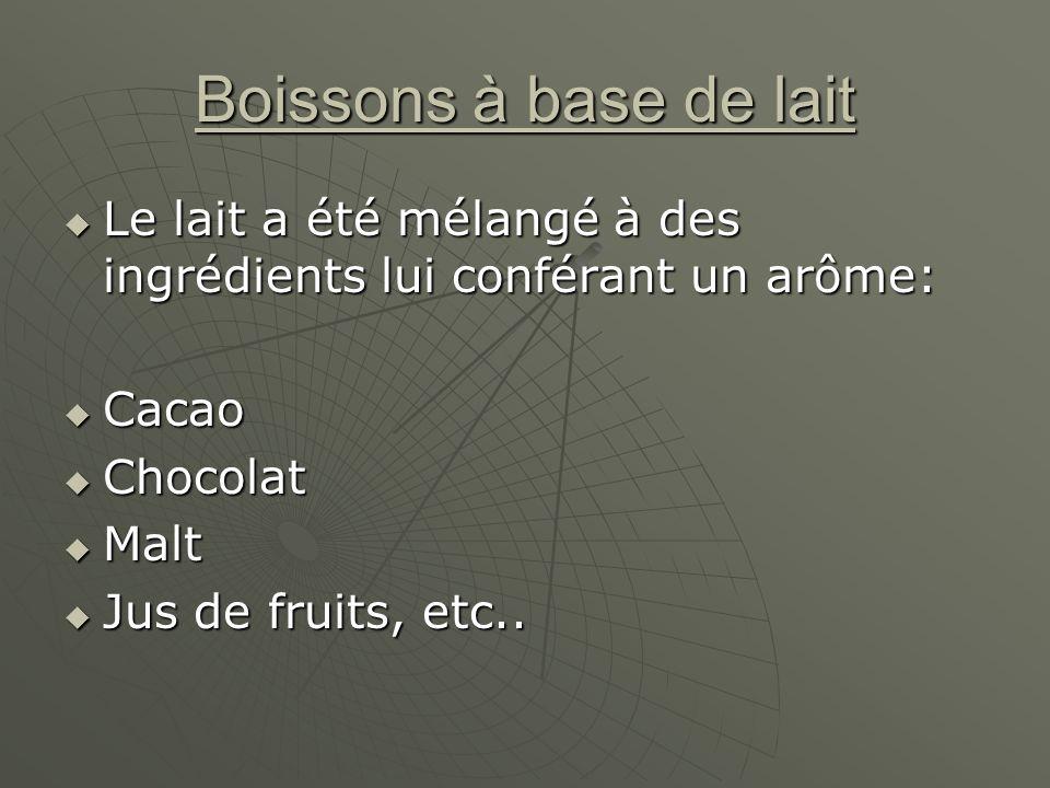 Boissons à base de lait Le lait a été mélangé à des ingrédients lui conférant un arôme: Cacao. Chocolat.