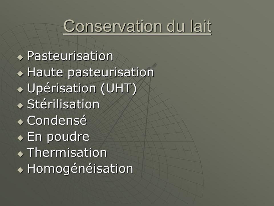 Conservation du lait Pasteurisation Haute pasteurisation
