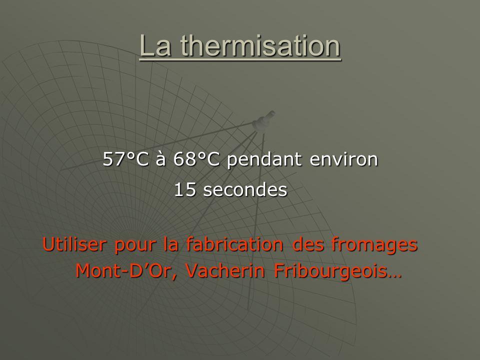 La thermisation 15 secondes 57°C à 68°C pendant environ