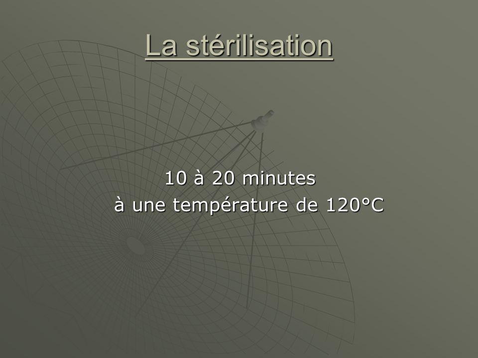 La stérilisation 10 à 20 minutes à une température de 120°C