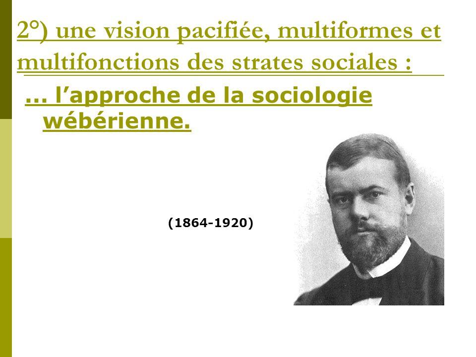 2°) une vision pacifiée, multiformes et multifonctions des strates sociales :