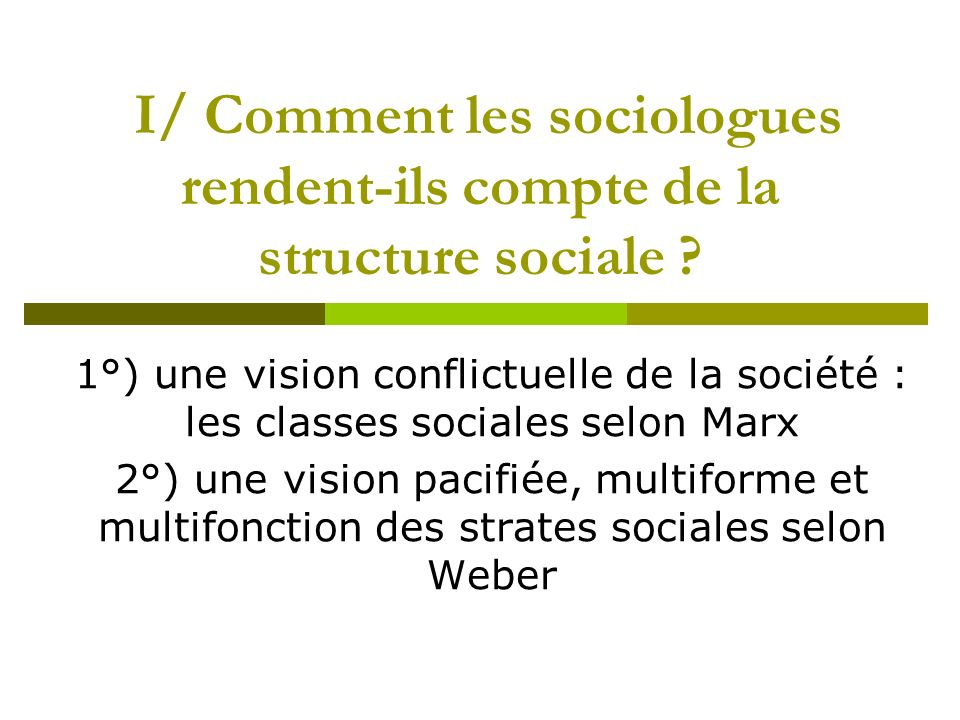 I/ Comment les sociologues rendent-ils compte de la structure sociale