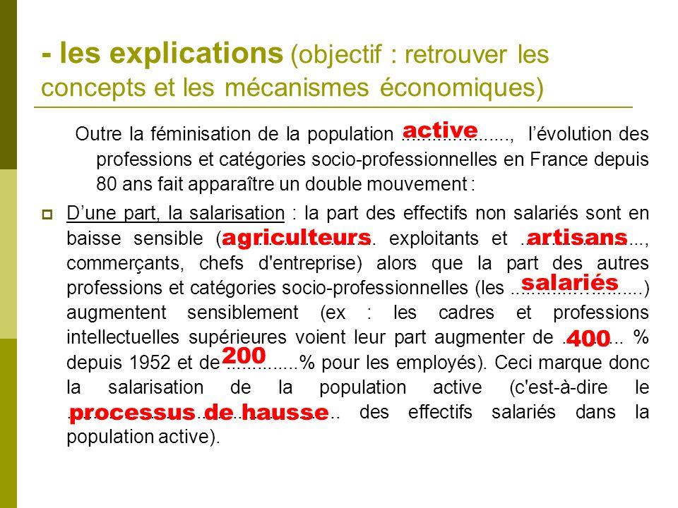 - les explications (objectif : retrouver les concepts et les mécanismes économiques)