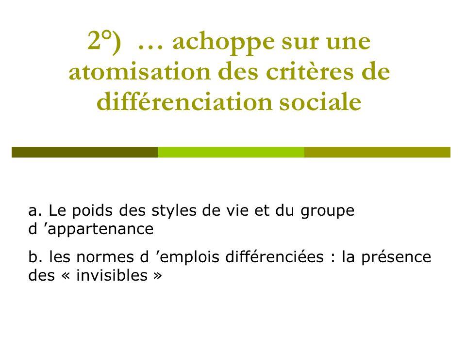 2°) … achoppe sur une atomisation des critères de différenciation sociale