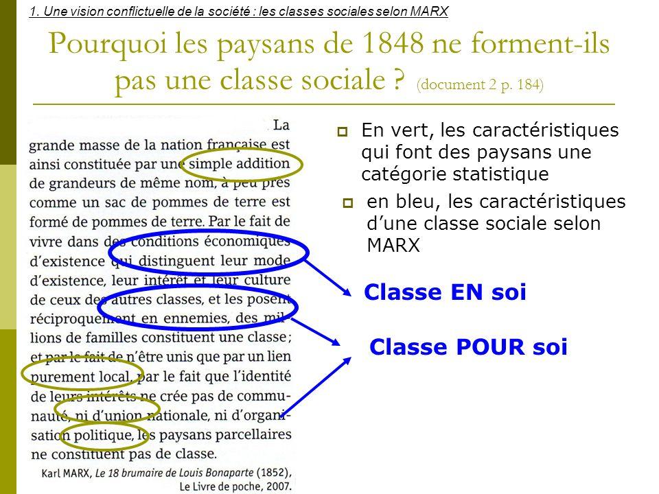 1. Une vision conflictuelle de la société : les classes sociales selon MARX