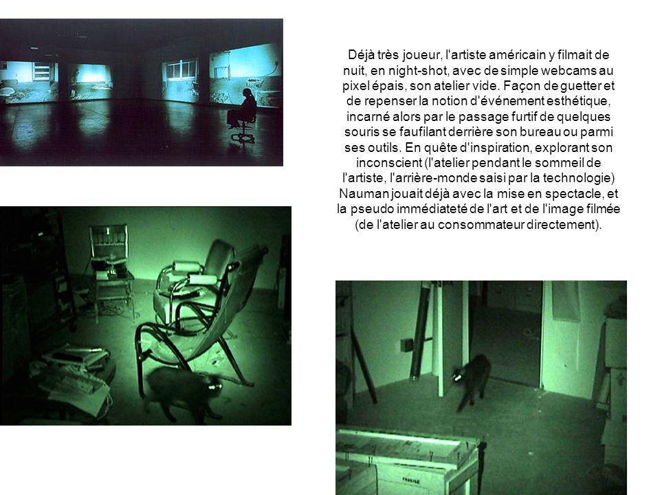 Déjà très joueur, l artiste américain y filmait de nuit, en night-shot, avec de simple webcams au pixel épais, son atelier vide.