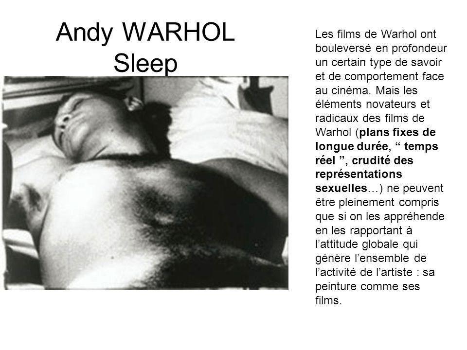 Les films de Warhol ont bouleversé en profondeur un certain type de savoir et de comportement face au cinéma. Mais les éléments novateurs et radicaux des films de Warhol (plans fixes de longue durée, temps réel , crudité des représentations sexuelles…) ne peuvent être pleinement compris que si on les appréhende en les rapportant à l'attitude globale qui génère l'ensemble de l'activité de l'artiste : sa peinture comme ses films.