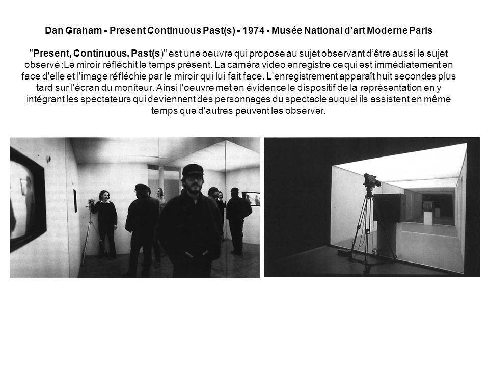 Dan Graham - Present Continuous Past(s) - 1974 - Musée National d art Moderne Paris Present, Continuous, Past(s) est une oeuvre qui propose au sujet observant d'être aussi le sujet observé :Le miroir réfléchit le temps présent.
