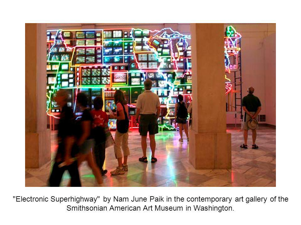 Electronic Superhighway by Nam June Paik in the contemporary art gallery of the Smithsonian American Art Museum in Washington.