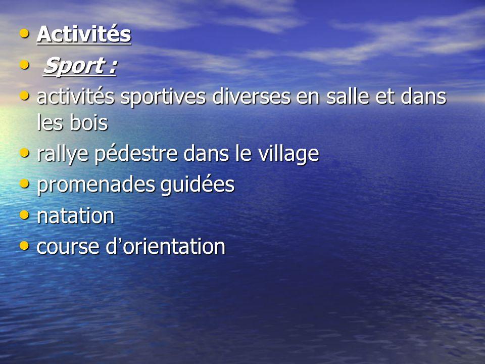 Activités Sport : activités sportives diverses en salle et dans les bois. rallye pédestre dans le village.