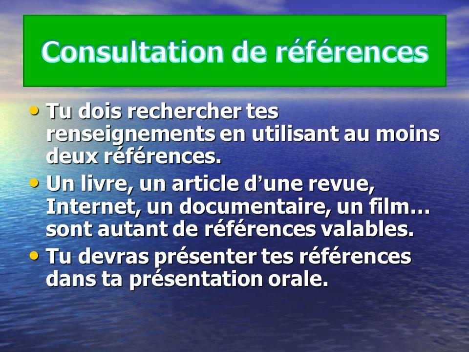 Consultation de références