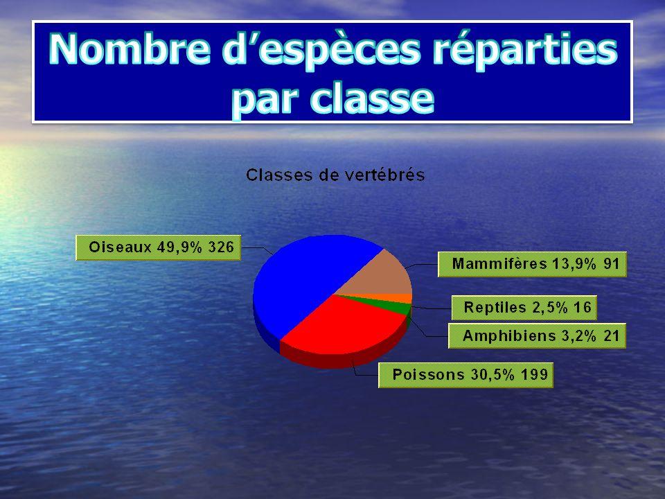 Nombre d'espèces réparties par classe