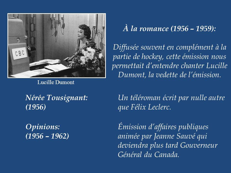 À la romance (1956 – 1959):