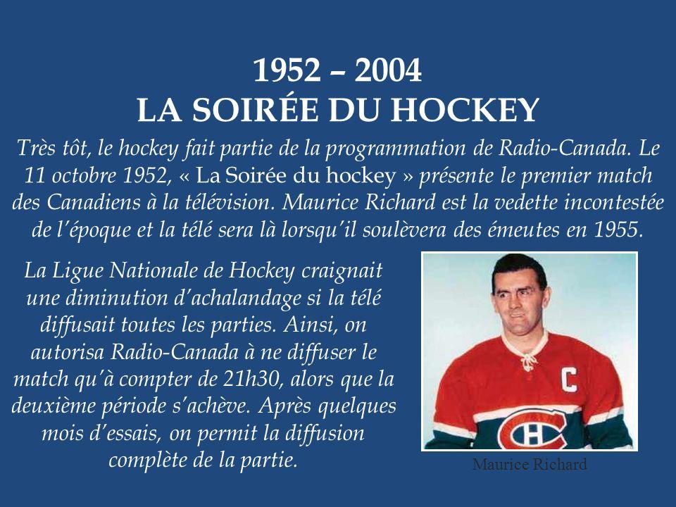 1952 – 2004 LA SOIRÉE DU HOCKEY.