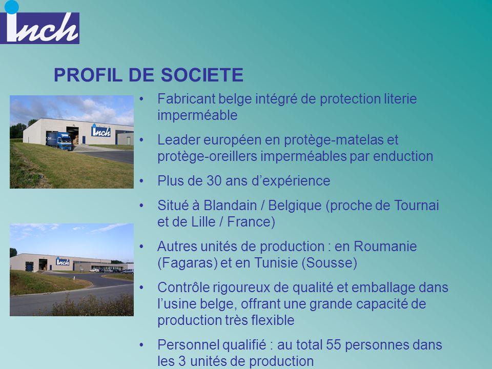 PROFIL DE SOCIETE Fabricant belge intégré de protection literie imperméable.