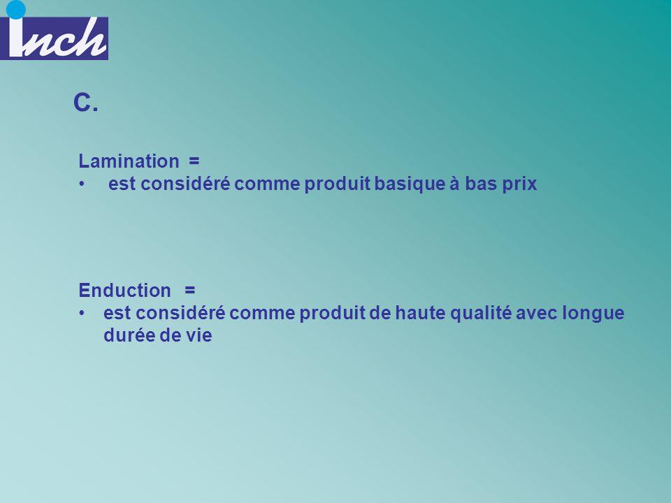 C. Lamination = est considéré comme produit basique à bas prix