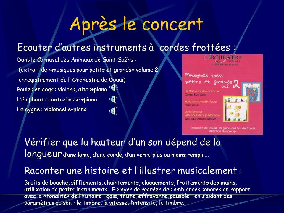 Après le concert Ecouter d'autres instruments à cordes frottées :