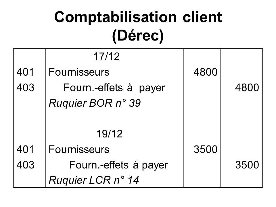 Comptabilisation client (Dérec)